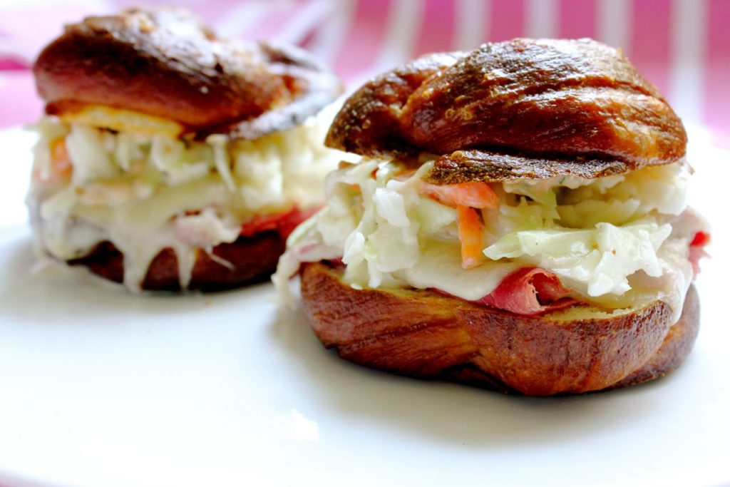 Reuben Sandwich on Pretzel Challah Rolls - What Jew Wanna Eat