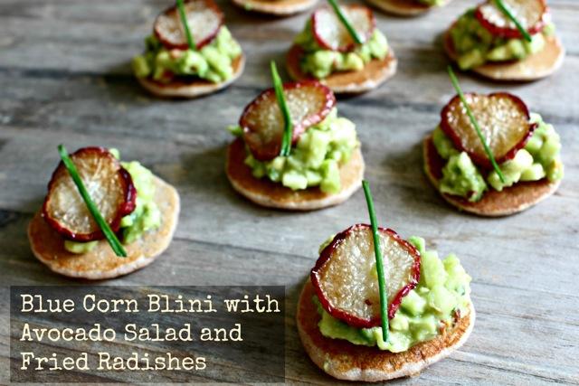 blini, avocado, radishes, Russian recipes, Jewish recipes, kosher recipes, apples
