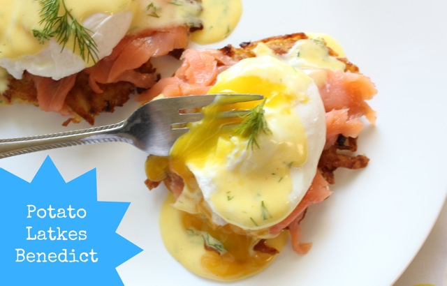 eggs benedict, potato latkes