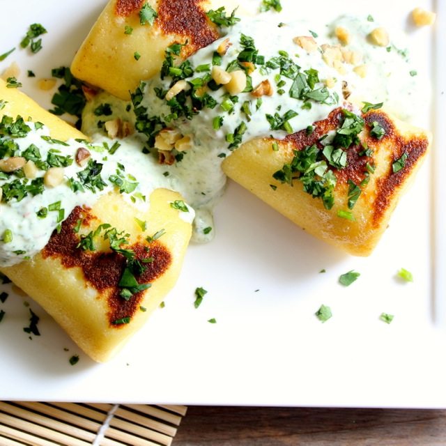 Goat Cheese and Zucchini Blintzes with Cilantro Cream Sauce