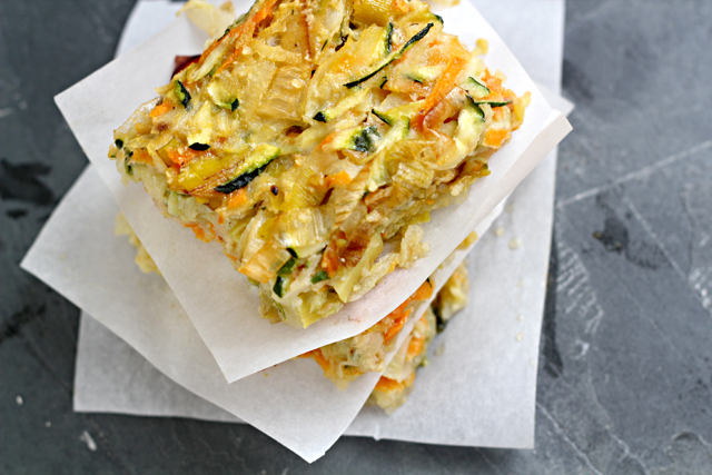 Vegetable Kugel with Caramelized Leeks