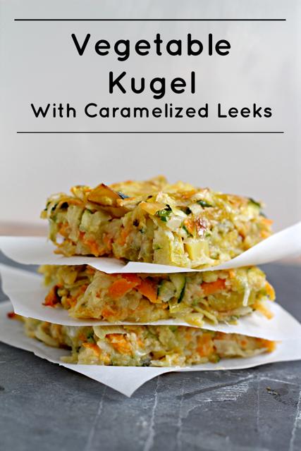 Vegetable Kugel with Caramelized Leeks