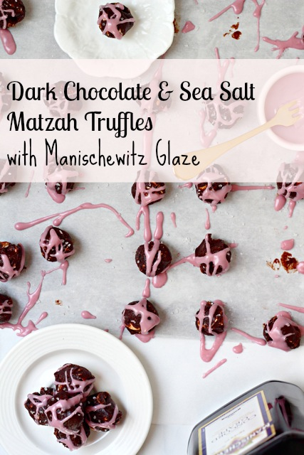 Dark Chocolate Sea Salt Matzo Truffles with Manischewitz Glaze