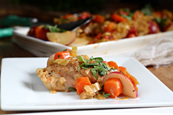 White Wine Braised Chicken Thighs with Leeks, Potatoes and Tomatoes