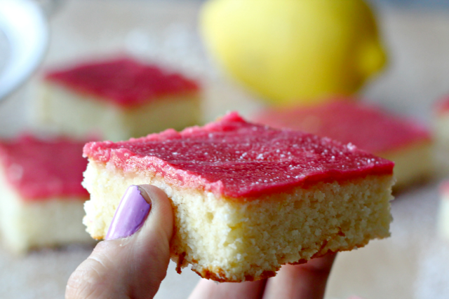 Lemon Cake Squares with Raspberry Glaze