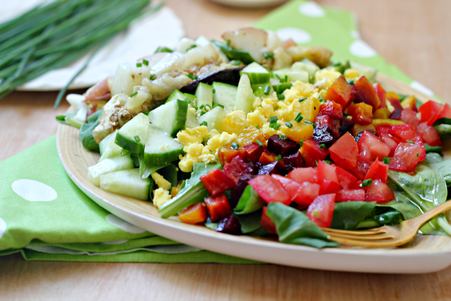 Rainbow Sabich Salad with Spicy Tahini Dressing