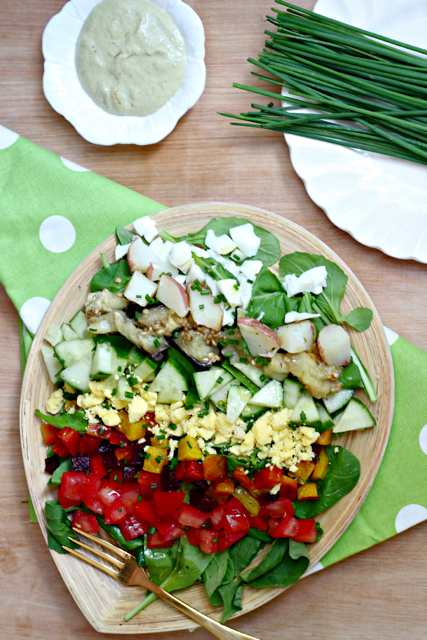 Rainbow Sabich Salad with Spicy Tahini Dressing