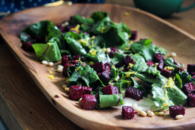 Cardamom Roasted Beet Salad with Coffee Yogurt Sauce