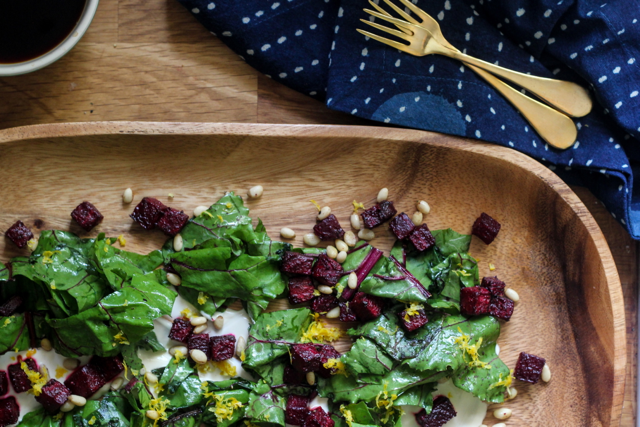 Roasted Cardamom Beet Salad with Coffee Yogurt Sauce