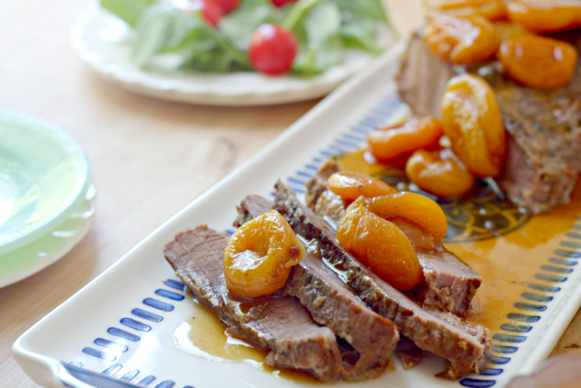 White Wine Braised Brisket with Apricots