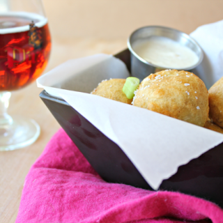 Beer Battered Deep Fried Brisket Fritters with Horseradish Aioli