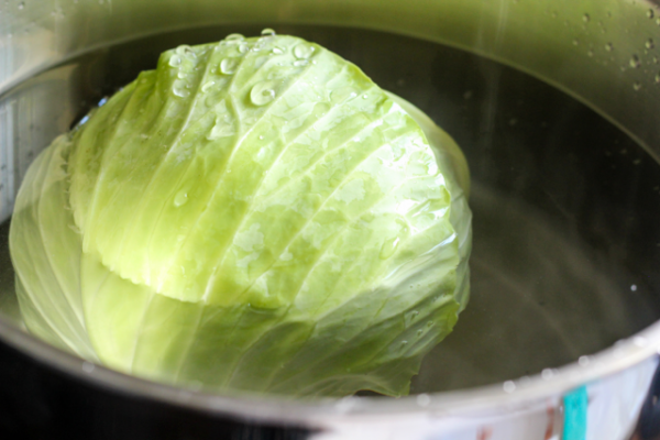 Vegetarian Stuffed Cabbage with Creamy Beet Sauce