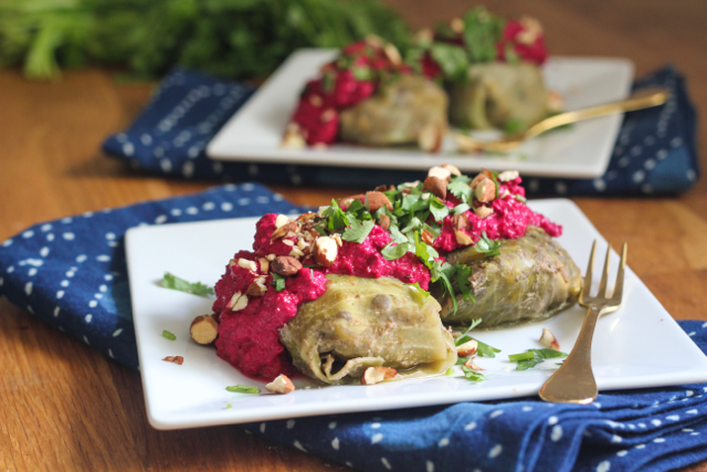 Vegetarian Stuffed Cabbage with Creamy Beet Sauce