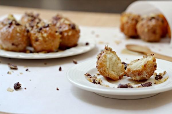 Boozy Glazed Doughnut Holes with Chocolate Covered Potato Chips