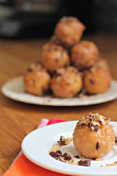 Boozy Glazed Doughnut Holes with Chocolate Covered Potato Chips