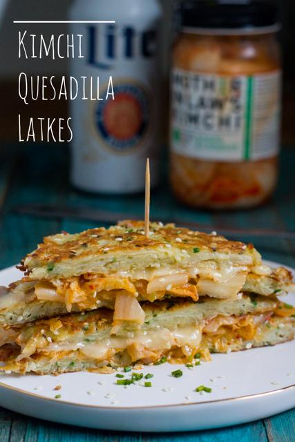 Kimchi Quesadilla Latkes