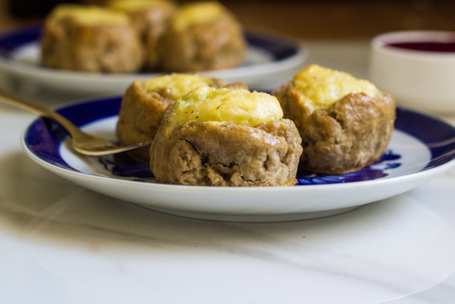 Mashed Potato Pumpkin Spice Knishes with Cranberry Mustard Sauce