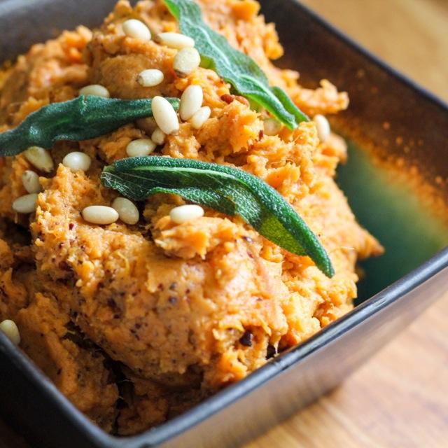 Tahini Mashed Sweet Potatoes with Fried Sage