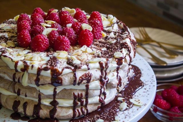 Chocolate Meringue Cake with Cream Cheese Whipped Cream and Homemade ...