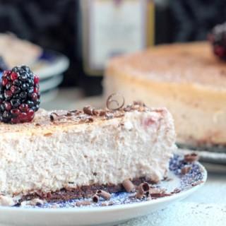 Manischewitz Cheesecake with Boozy Blackberries