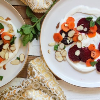 Roasted Beet Salad with Pickled Carrots, Lemon Cream, Mint and Almonds