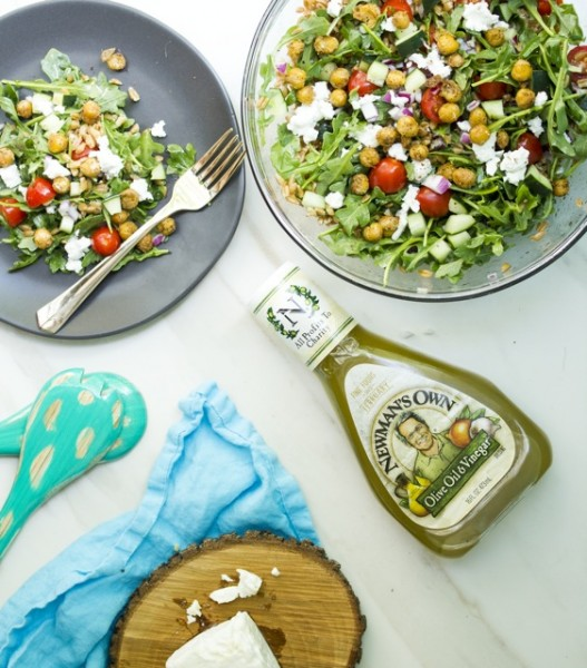 Israeli Farro Salad with Za'atar Fried Chickpeas