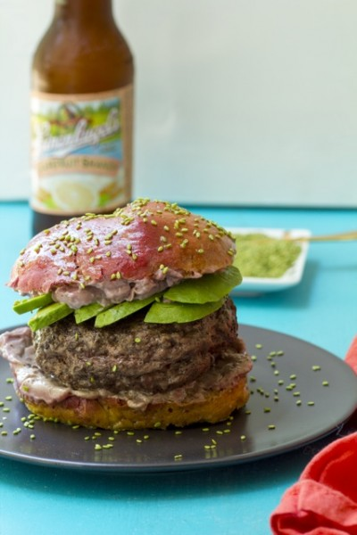 Sumac Spiced Burgers with Pomegranate Aioli on Beet Buns