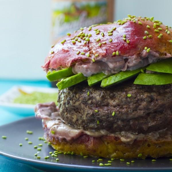 Sumac Spiced Burgers with Pomegranate Aioli on Beet Buns