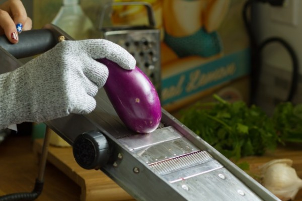 Eggplant Chips with Tahini Pesto