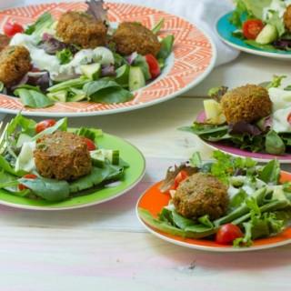 Falafel Salad with Tzatziki Dressing