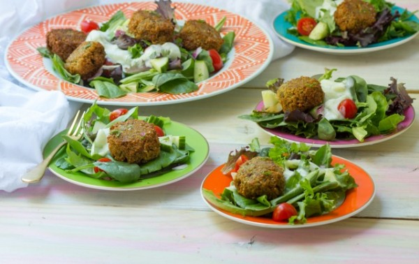 Falafel Salad with Tzatziki Dressing
