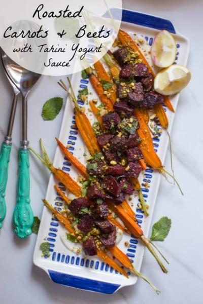 Roasted Carrots and Beets with Tahini Yogurt and Pistachios