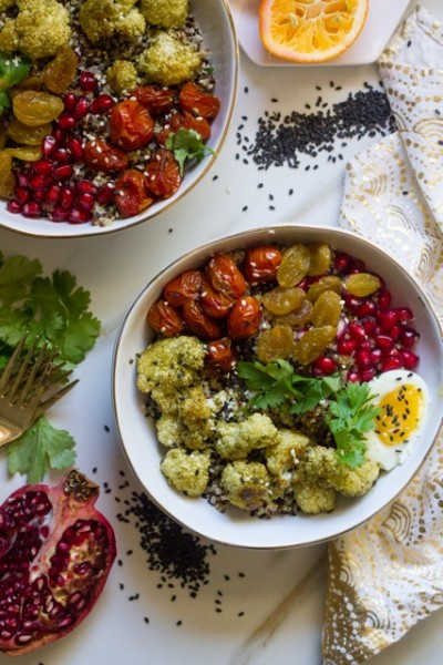 Quinoa Bowl with Za'atar Cauliflower, Pomegranate, a 6 Minute Egg and Meyer Lemon Vinaigrette
