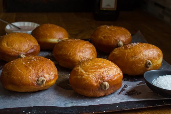 Savory Sufganiyot Hanukkah Doughnuts with Chopped Liver Mousse & Manischewitz Glaze