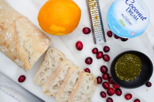 Za'atar Yogurt and Red WIne Cranberry Crostini