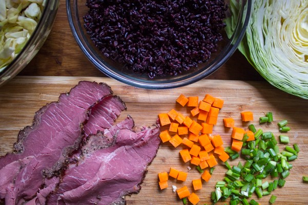 Pastrami and Rye Fried Rice with Pickled Cabbage