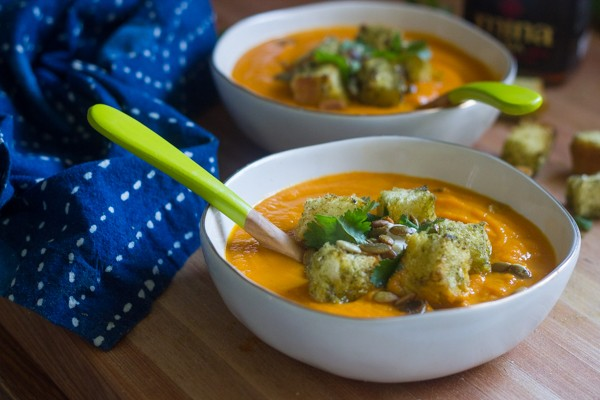 Carrot Harissa Soup with Za'atar Croutons
