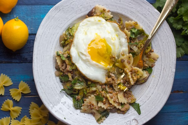 Kasha Varnishkes with Sumac Fried Brussels Sprouts