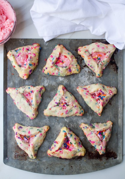 Strawberry Champagne Rainbow Hamantaschen