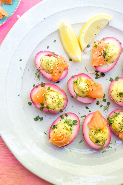 Pickled Beet Everything Bagel Deviled Eggs