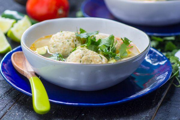 Chicken, Lime and Avocado Matzah Ball Soup