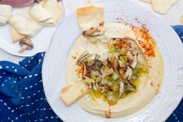 Hummus with Pastrami, Leeks and Shiitake Mushrooms