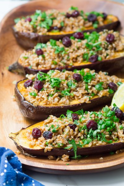 Spice-Rubbed Eggplant with Farro and Cranberries