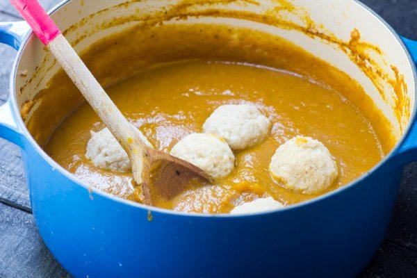 Pumpkin Spice Matzah Ball Soup