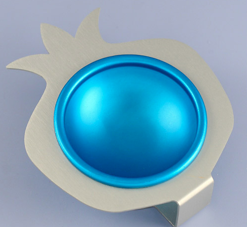Blue Pomegranate Glass and Aluminum Bowl