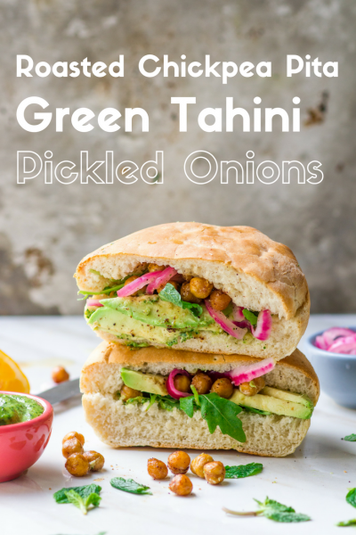 Roasted Chickpea Pita with Green Tahini and Pickled Onions-