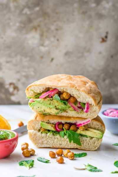 Roasted Chickpea Pita with Green Tahini and Pickled Onions