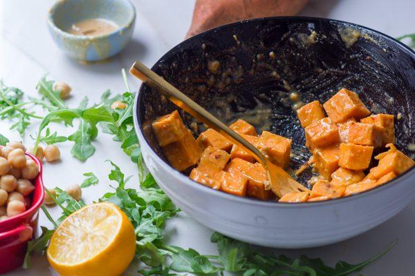 Tahini Sweet Potato Farro Salad with Chickpea Dressing