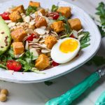 Tahini Sweet Potato Farro Salad with Chickpea Dressing
