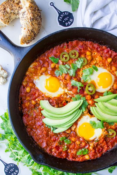 Shakshuka with Charred Chickpeas and Pickled Jalapeños